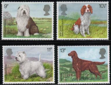 1979年イギリス(英国) オールド・イングリッシュ・シープドッグ イングリッシュ・スプリンガー・スパニエル ウエスティ アイリッシュ・セターの切手