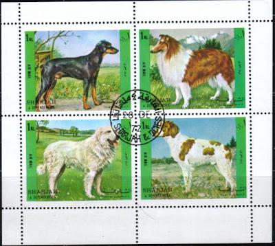 1972年シャルジャー ドーベルマン ラフ・コリー グレート・ピレニーズ ジャーマン・ショートヘアード・ポインターの切手シート