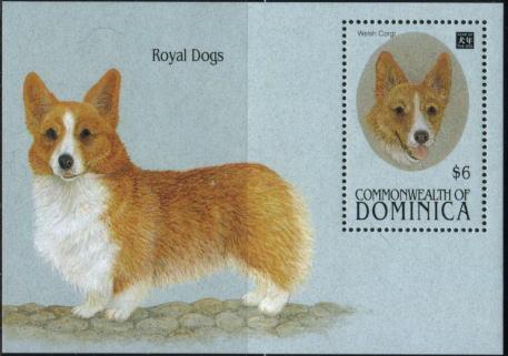 1994年ドミニカ国 英国王室の犬ウェルシュ・コーギーの切手シート