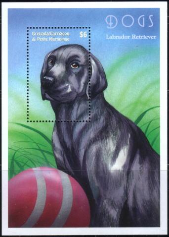 年度不明グレナダ領グレナディーン諸島 ラブラドール・レトリーバーの切手シート