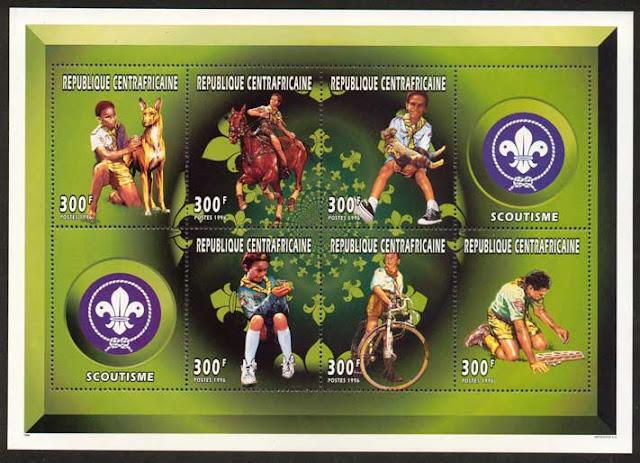 1997年中央アフリカ共和国 ファラオ・ハウンドの切手シート