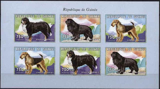 1999年ギニア共和国 バーニーズ・マウンテン・ドッグ ニューファンドランド エアデール・テリアの切手シート