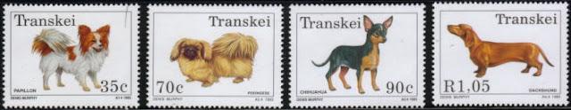 1993年トランスカイ パピヨン ペキニーズ チワワ ダックスフンドの切手