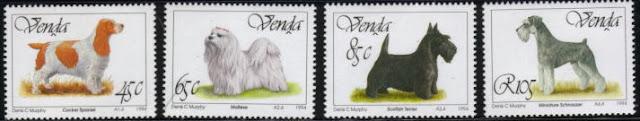 1994年ベンダ コッカー・スパニエル マルチーズ スコティッシュ・テリア ミニチュア・シュナウザーの切手
