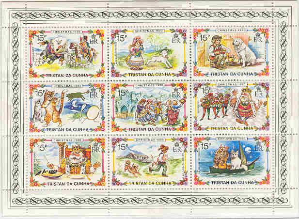 1980年トリスタン・ダ・クーニャ グレート・ピレニーズなどの切手シート