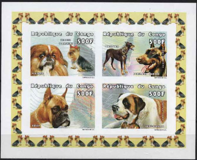 1999年コンゴ共和国 ペキニーズとヨークシャー・テリア ドーベルマン ボクサー セント・バーナードの切手シート