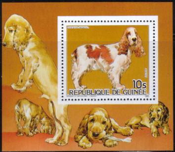 1985年ギニア共和国 コッカー・スパニエルの切手シート