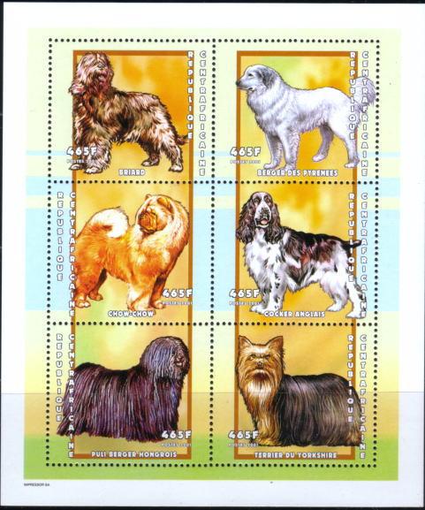 2001年中央アフリカ共和国 ブリアード グレート・ピレニーズチャウ・チャウ コッカー・スパニエル プーリー ヨークシャー・テリアの切手シート