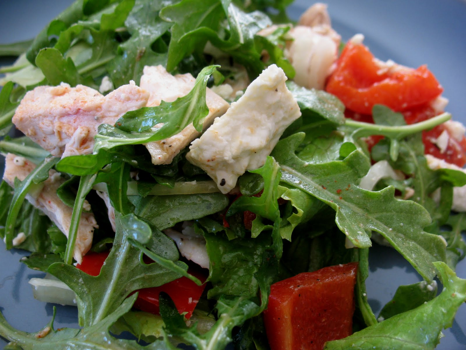 ... chicken salad, with potatoes, roasted red peppers and peas. Serves 6