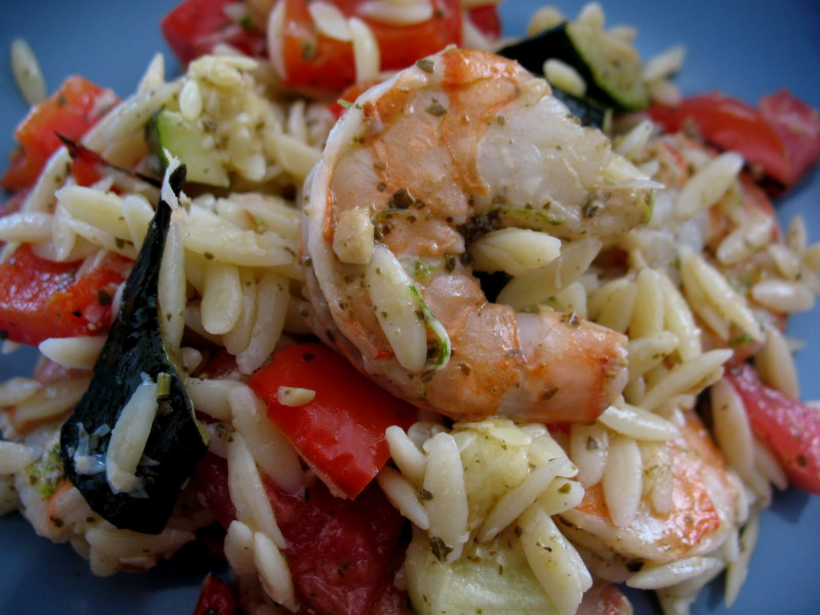 Summer Veggie and Prawn Orzo Salad ~ Chasing Tomatoes