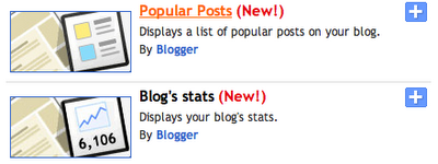 Blog's stats and Popular Posts gadgets