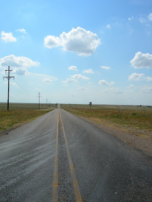 Texas highway 1268 looking west Cast Away crossroads