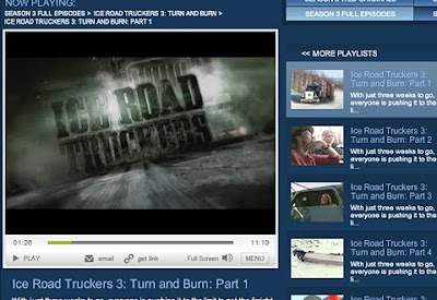 Screenshot of Ice road truckers on Historychannel.com