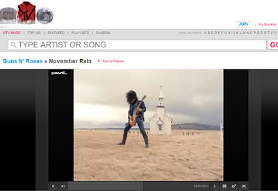 Screenshot of Guns 'n Roses - November rain on MTVmusic.com