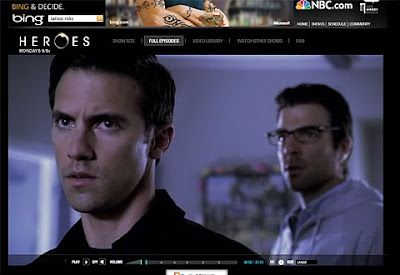 Screenshot of Heroes on NBC.com