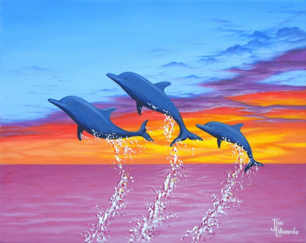 Dolphins in sunset 16 x 20 Sold)