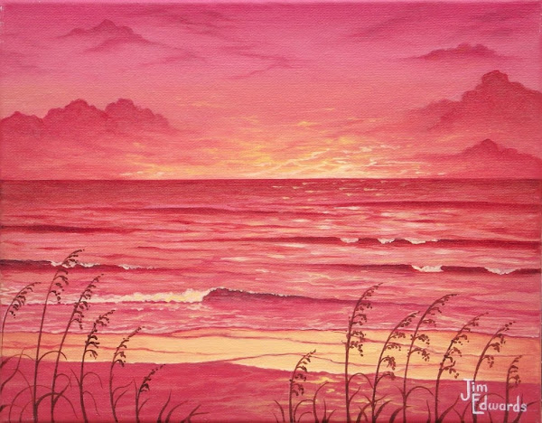 Seaoats in Sunset 11 x 14
