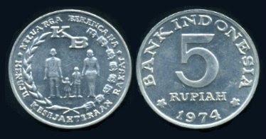 Uang Koin 5 Rupiah 1974