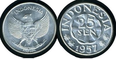 Uang Koin 25 Sen 1957