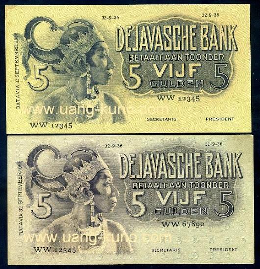 Wayang 5 gulden proof seri WW dengan 2 variasi warna