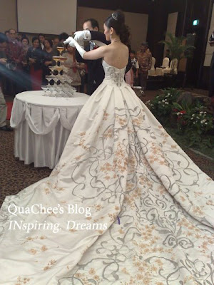 This is the main wedding gown which the bride wore for the church ceremony