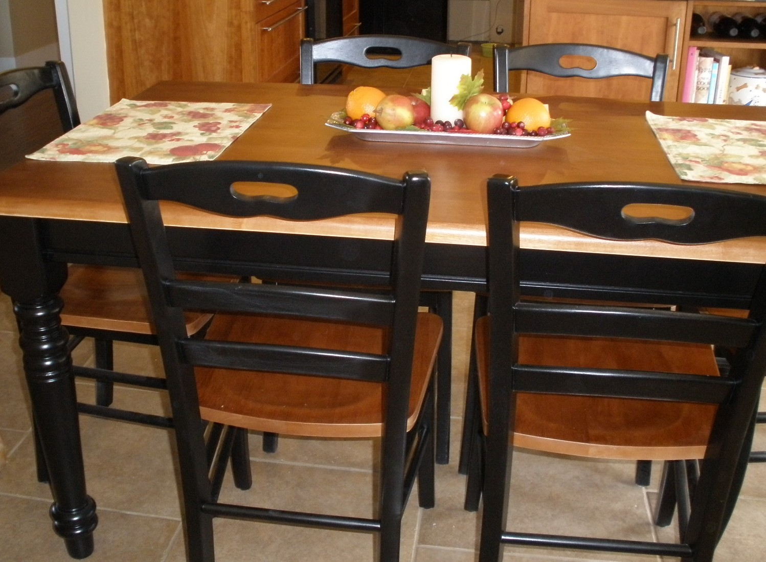 Painted Wood Kitchen Table and Chairs