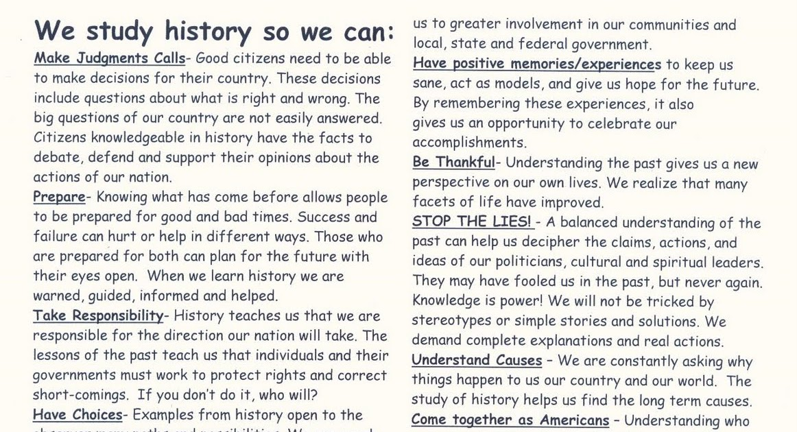 the many reasons why people study history Why is history important an overview for the we'll explore a few reasons why history is important many people feel like they need a sense of.