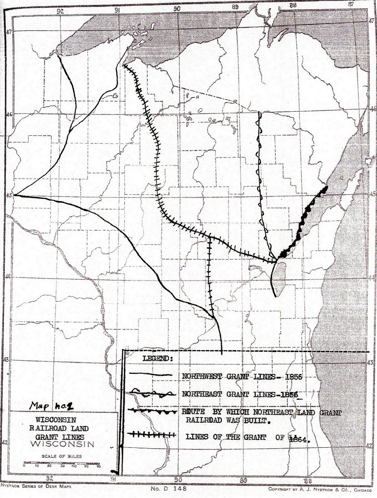 map from unpublished master s thesis by greiner gordon oswald wisconsin national railroad land grants thesis m s university of wisconsin madison