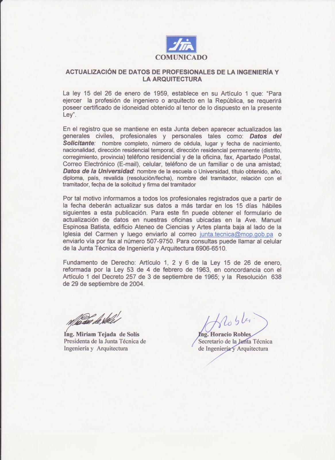 COLEGIO DE INGENIEROS CIVILES DE PANAMA: 2010