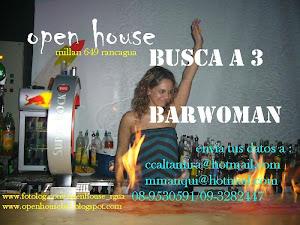 Openhouse busca Barwoman!, perfil: jovenes, buena presencia, estudiantes, mayor 18años.