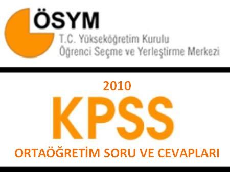 2010 Kpss Ortaöğretim Çıkmış Sorular