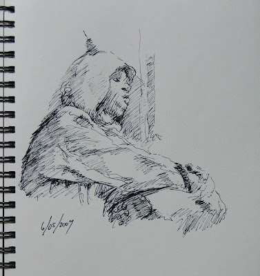 Pen sketch - sleeper on the train - stephen scott