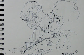 The sleeping coach - pen sketch - Felt tipped pen on paper by Cape Town artist.