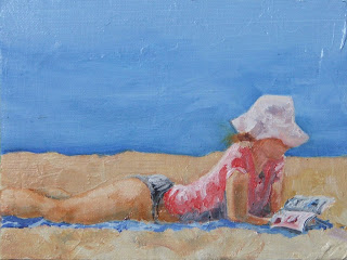 Girl Reading on the beach - Pletenberg bay - oil painting by Stephen Scott
