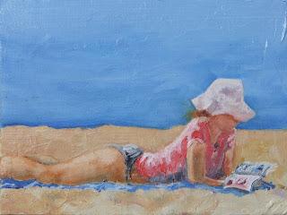 Girl Reading on the beach - Pletenberg bay - oil painting by Stephen Scott