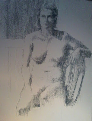 Seated nude; charcoal on paper by Stephen Scott