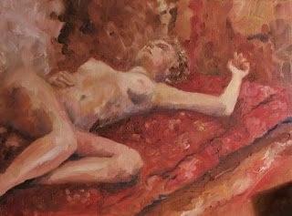 Reclining Nude on a Persian Carpet - Oil painting by Stephen Scott