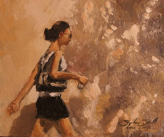 New Oil painting for sale - 'Girl Walking' by South African artist Stephen Scott.