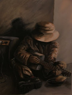 Oil can guitar - oil painting by Stephen Scott