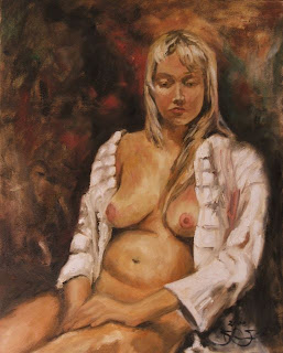 Nude in white robe, oil painting, Stephen Scott