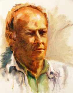 barry jackson, portrait, oil painting on board
