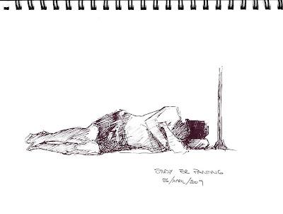 On the beach - pen sketch by Cape Town artist Stephen Scott