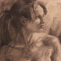 Seated girl (Charcoal on Paper) by South African artist - Stephen Scott