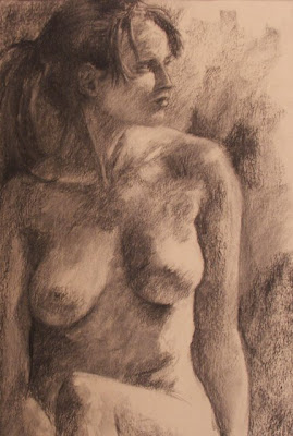 Seated nude - charcoal sketch by South African artist - Stephen Scott
