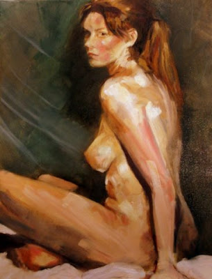 Seated nude (Oil on canvas) by South African artist - Stephen Scott