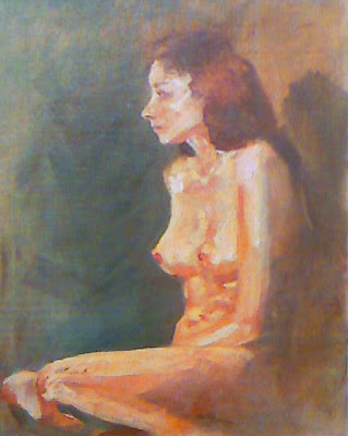 Seated nude - original oil painting by Stephen Scott
