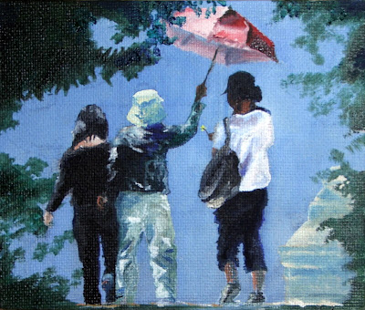 Chinese Umbrella Ladies - an oil painting by South African artist; Stephen Scott