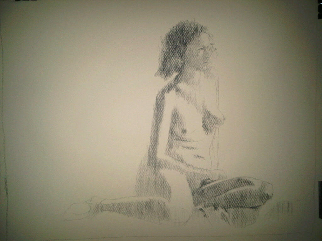 Seated Nude - November 2010 - Charcoal on Paper - Cape Town artist, Stephen Scott