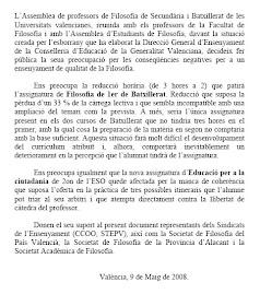 Texto consensuado fruto de la asamblea de Valencia