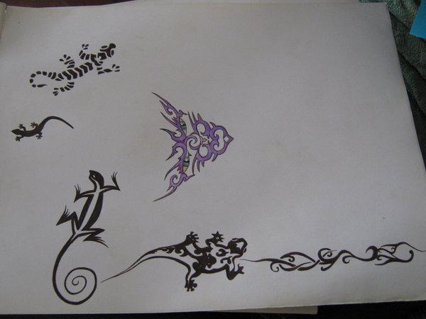 Tribal Lizard Tattoo Designs